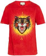 Gucci Angry Cat-appliqué cotton T-shirt