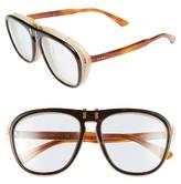 Gucci Women's 56Mm Flip-Up Sunglasses - Havana/ Azure