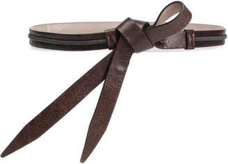Brunello Cucinelli Bead-embellished Cracked-leather Belt