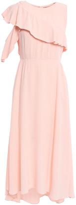 Maje Ruffled Crepe Midi Dress