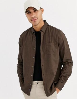 Burton Menswear long sleeve oxford shirt in brown