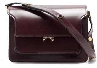 Marni Trunk Medium Leather Shoulder Bag - Burgundy