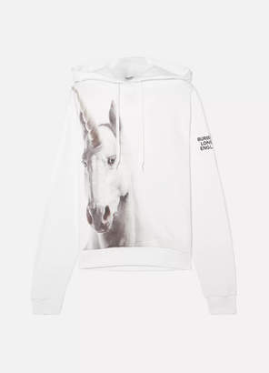 Burberry Appliqued Cotton-jersey Hoodie - White