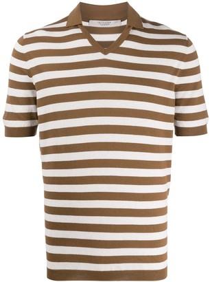 La Fileria For D'aniello V-neck striped pattern polo shirt