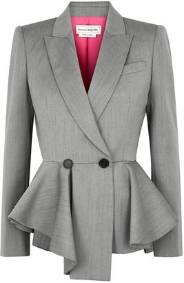 Alexander McQueen Grey peplum herringbone wool blazer
