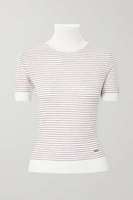 Prada Embroidered Striped Wool Turtleneck Top - Ivory