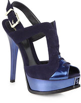 Fendi Suede & Metallic Leather Lace-Up Sandals