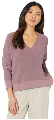 Eileen Fisher Organic Cotton Cord V-Neck Box-Top (Mauve) Women's Clothing