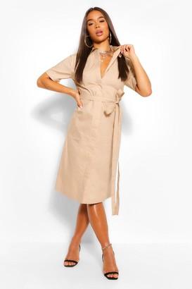 boohoo Cotton Belted Midi Shirt Dress
