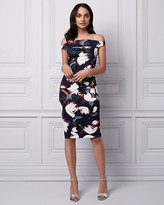 Le Château Floral Knit Crêpe Off-the-Shoulder Dress