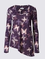 Marks and Spencer Butterfly Print Asymmetric Jersey Top