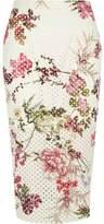 River Island Womens White floral laser cut midi pencil skirt