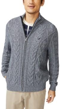 Nautica Men's Pre-Twist Cable-Knit Full-Zip Cardigan Sweater