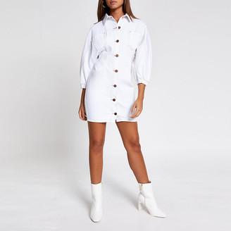 River Island White denim shirt dress