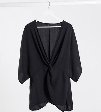Asos DESIGN Curve knot front top with kimono sleeve in black