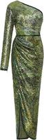 Elie Saab One Shoulder Sequin Gown