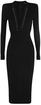 Balmain Black lace-up ribbed-knit midi dress