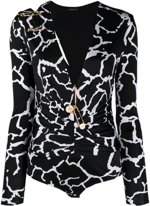 Versace graphic print V-neck bodysuit