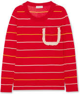 Sonia Rykiel Ruffle-trimmed Striped Silk And Cotton-blend Sweater - Red