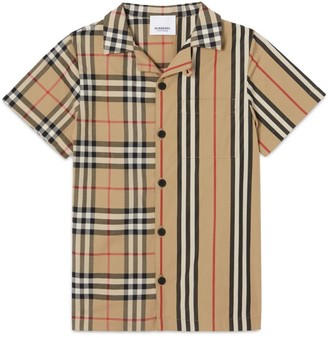 Burberry Kids Vintage Check Icon Stripe Shirt