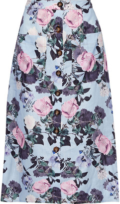 Nicholas Belted Floral-print Linen Midi Skirt
