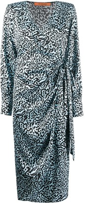 Andamane Leonado leopard-print satin wrap dress