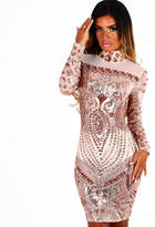 Pink Boutique Rage and Romance Rose Gold Sequin Sheer Mini Dress
