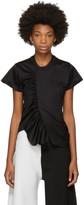 Marques Almeida Black Skewed Gathered Front T-shirt