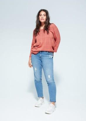 MANGO Violeta BY Check print sweater peach - S - Plus sizes