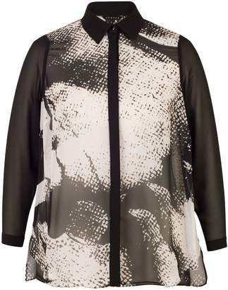 Chesca Printed Shirt, Black/Ivory