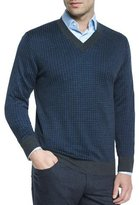 Brioni Houndstooth V-Neck Sweater, Gray/Blue