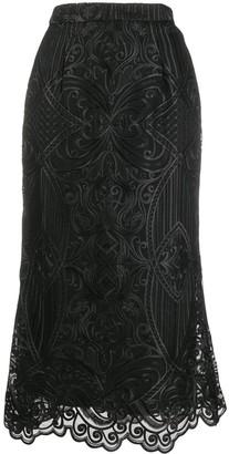 Wandering Embroidered Midi Skirt