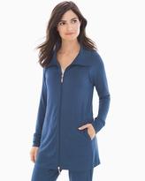 Soma Intimates Hooded Long Track Jacket Ink Blue