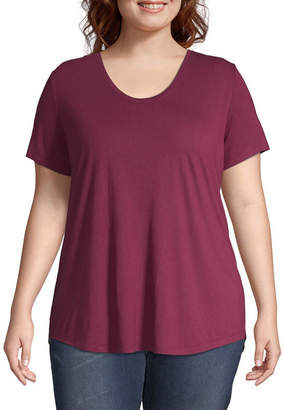 A.N.A Plus-Womens Scoop Neck Short Sleeve T-Shirt