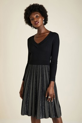 Yumi Black Knitted Party Dress