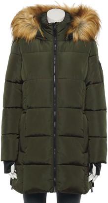 Madden-Girl Juniors' Core Faux-Fur Hood Puffer Coat