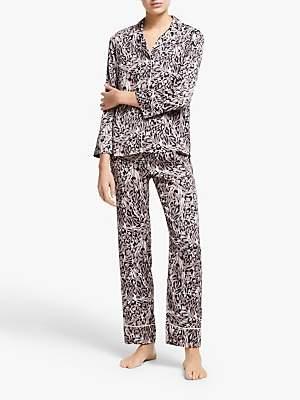 John Lewis & Partners Tia Animal Print Satin Pyjama Set, Mocha