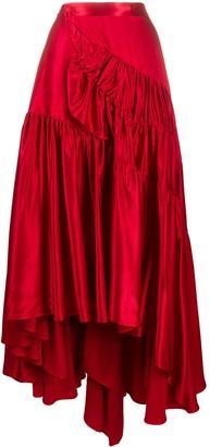 Koché Asymmetric Satun Tiered Skirt
