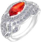 Ever Faith Silver-Tone Marquise-Shape Ring Red Cubic Zirconia Austrian Crystal - 8 N02156-19