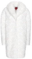Moncler Gamme Rouge Sofia Wool And Cashmere-blend Coat With Lace Appliqué And Fur