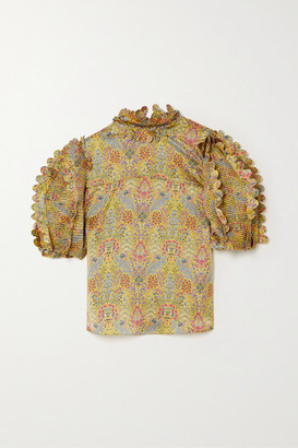 Horror Vacui Elinor Scalloped Pinctucked Floral-print Silk-satin Blouse - Yellow