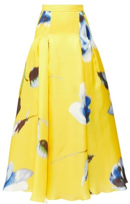 Carolina Herrera Rose-print Pleated Silk-gazar Maxi Skirt - Womens - Yellow Multi