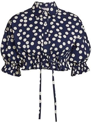 Carolina Herrera Cropped Ruffle-Trim Button-Down Shirt