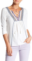 Lucky Brand Lace-Up Embroidered Shirt