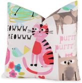 Crayola Purrty Cat 20-Inch Square Throw Pillow in Pink/White