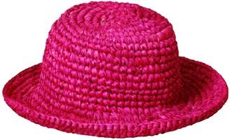 Brunna.Co Kirana Raffia Boater Hat In Fuschia Pink