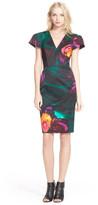 Milly Daphne Floral Print V-Neck Cap Sleeve Sheath Dress