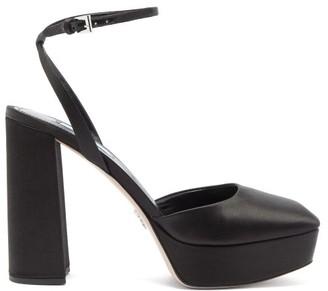 Prada Square-toe Satin Platform Sandals - Black