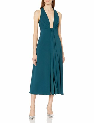 ML Monique Lhuillier Women's Plunging Neckline Midi Dress