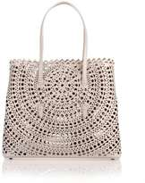 Alaia Pearl grey leather cut-out bag